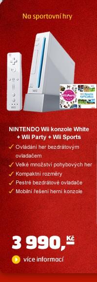 Wii konzole White + Wii Party + Wii Sports