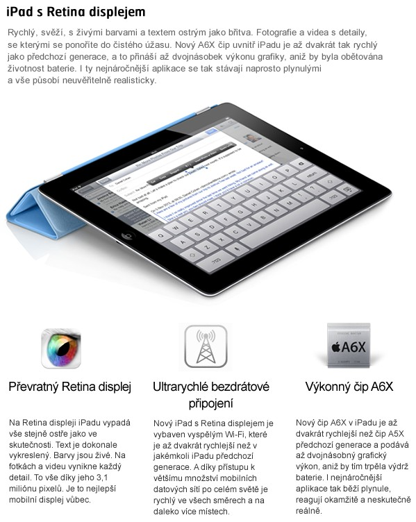 iPad with Retina display 32GB Wi-Fi černý