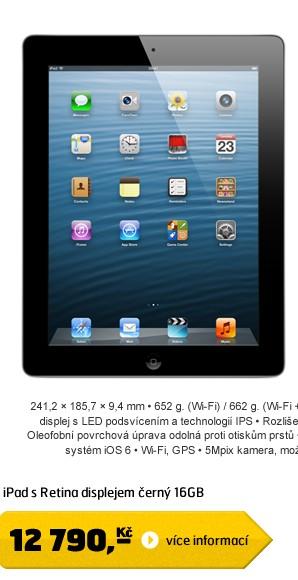 iPad with Retina display 16GB Wi-Fi černý