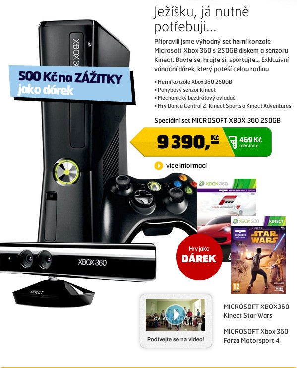 XBOX 360 250GB Kinect senzor + Kinect Adventures + Sports 1 + Dance Central 2
