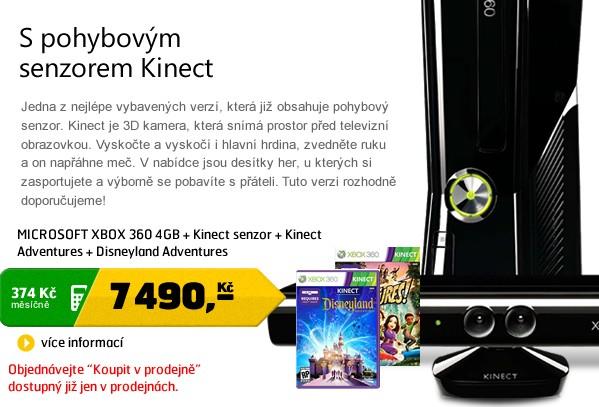 XBOX 360 4GB + Kinect senzor + Kinect Adventures + Disneyland Adventures