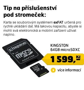 64GB microSDXC karta Class 10 s adaptérem - nekompatibilní s SDHC