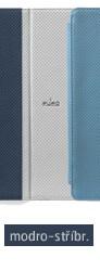 Pouzdro pro New iPad a iPad 2 včetně stojánku s magnetem, eko-kůže, modro-stříbrné