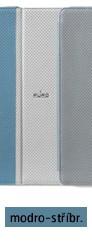 Pouzdro pro New iPad a iPad 2 včetně stojánku s magnetem, eko-kůže, světle modro-stříbrné