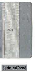 Pouzdro pro New iPad a iPad 2 včetně stojánku s magnetem, eko-kůže, stříbrné