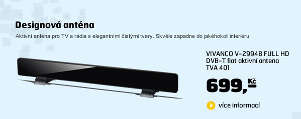 V-29948 FULL HD DVB-T flat aktivní antena TVA 401