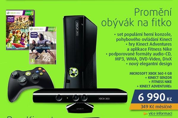 XBOX 360 4GB + Kinect senzor + Fitness Nike + Kinect adventu