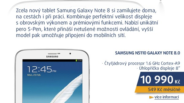 N5110 Galaxy Note 8.0 White