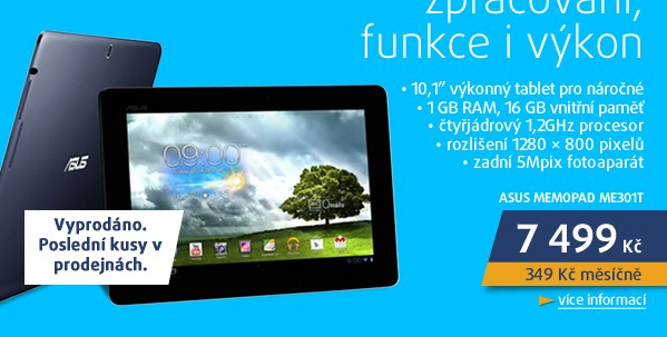 MemoPad ME301T 10.1/Tegra3/16/1/A4.1 modrý