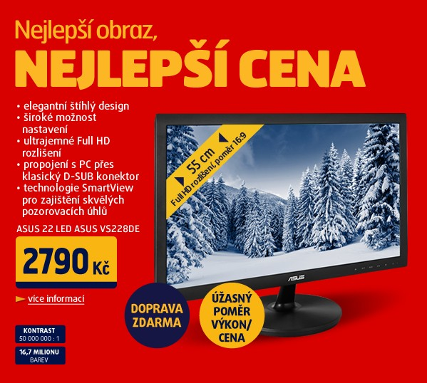 22 LED ASUS VS228DE -5ms,Full HD,D-Sub