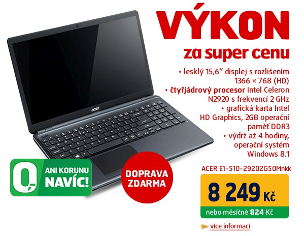 E1-510-29202G50Mnkk - Intel N2920, 15.6´´ WXGA LED, 2GB, 500GB, čtečka pk, DVD, UMA, WiFi,BT,CAM,4čl,W8.1,černý