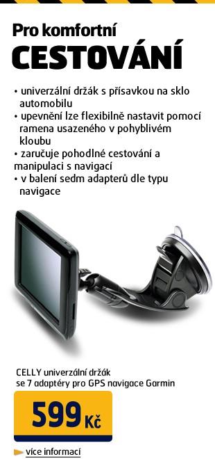 Univerzální držák CELLY FLEXNAVY se 7 adaptéry pro GPS navigace Garmin/ Navigon/ TomTom/ UNI