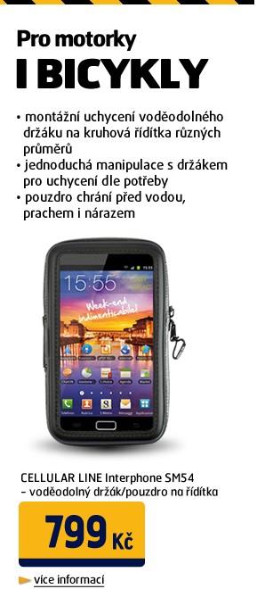 Interphone SM54 - voděodolný držák/pouzdro na řídítka pro navigace do 5,4 a smartphony