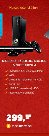 XBOX 360 slim 4GB Kinect + Sports 2