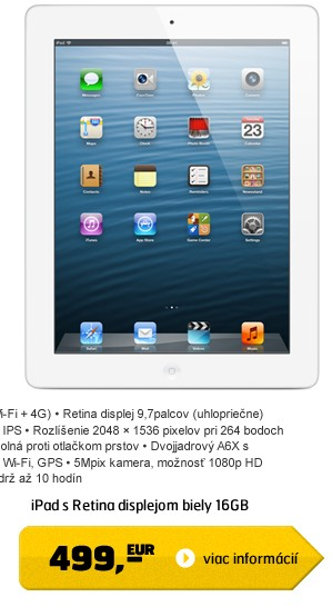 iPad with Retina display 16GB Wi-Fi bílý