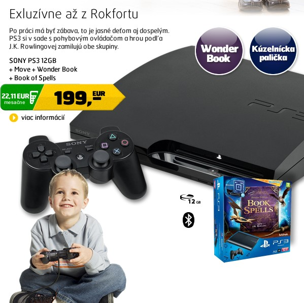 PS3 12GB + Move + Wonderbook + Book of Spells