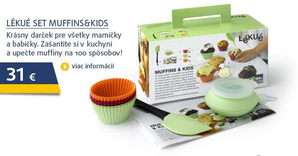 Set MUFFINS&KIDS (stěrka, cukr. zdobítko, 6 formiček)