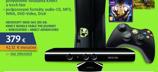 Xbox 360 250GB: Kinect bundle Fable The Journey + Wreckateer