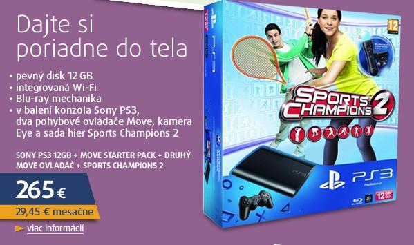 PS3 12GB + Move starter pack + druhý move ovladač + Sports Champions 2