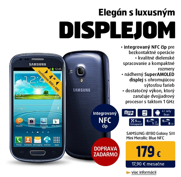 i8190 Galaxy SIII Mini Metallic Blue NFC