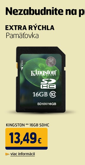 ** 16GB SDHC karta Value Class 10