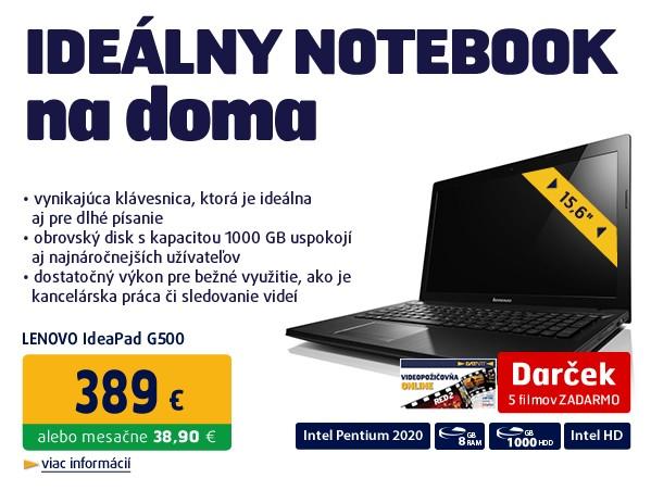 IdeaPad G500 2020M 2,4 GHz 15.6 HD LED UMA 4GB 1TB WL BT DVDRW CAM W8 ČIERNY