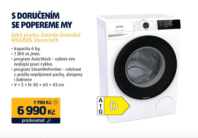 Úzká pračka Gorenje Essential WE62SDS SteamTech
