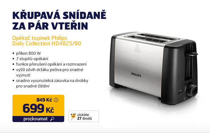 Opékač topinek Philips Daily Collection HD4825/90 černý/nerez