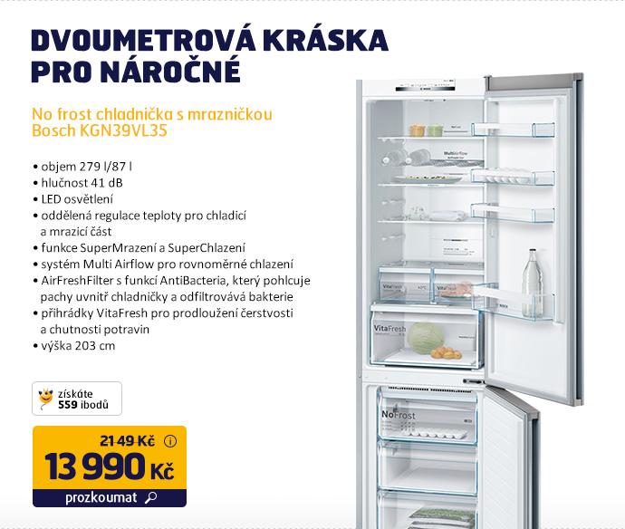 No frost chladnička s mrazničkou Bosch KGN39VL35