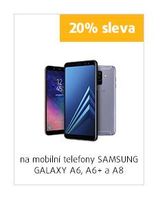 20% sleva na mobilní telefony Samsung Galaxy A6, A6+ a A8