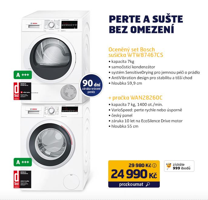 Oceněný set Bosch - pračka WAN28260CS + sušička WTW87467CS