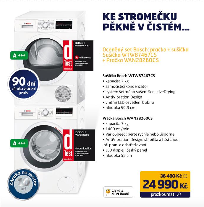 Oceněný set Bosch: pračka + sušička - Sušička WTW87467CS + Pračka WAN28260CS