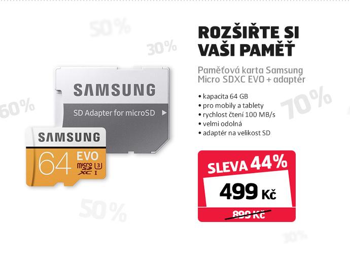 Paměťová karta Samsung Micro SDXC EVO + adaptér