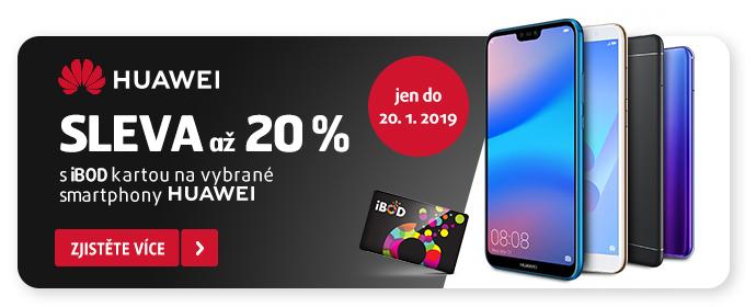 HUAWEI sleva až 20 % s iBOD kartou+ přelepka JEN DO 20. 1. 2019