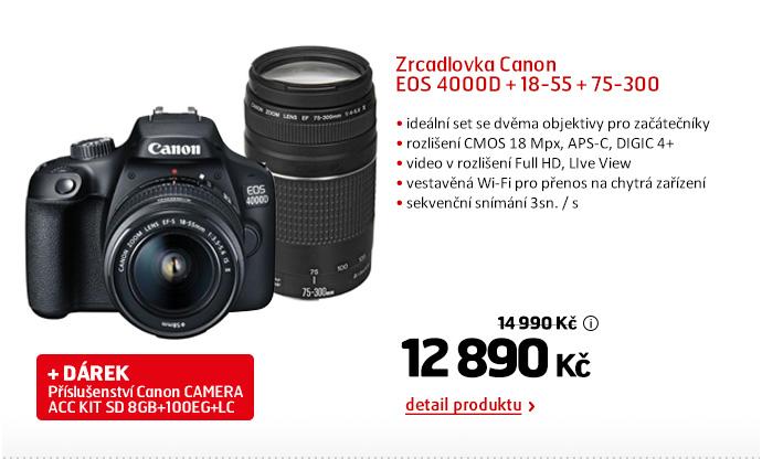 Zrcadlovka Canon EOS 4000D + 18-55 + 75-300
