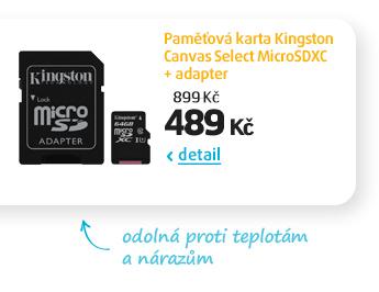 Paměťová karta Kingston Canvas Select MicroSDXC + adapter