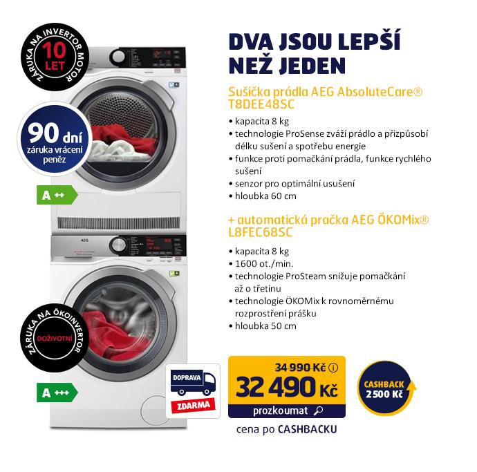 Sušička prádla AEG AbsoluteCare® T8DEE48SC + Automatická pračka AEG ÖKOMix® L8FEC68SC