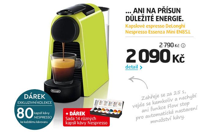 Kapslové espresso DeLonghi Nespresso Essenza Mini EN85.L