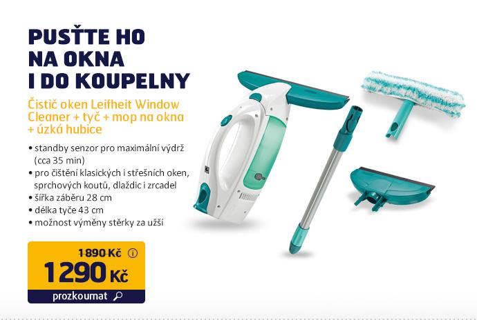 Čistič oken Leifheit Window Cleaner + tyč + mop na okna + úzká hubice