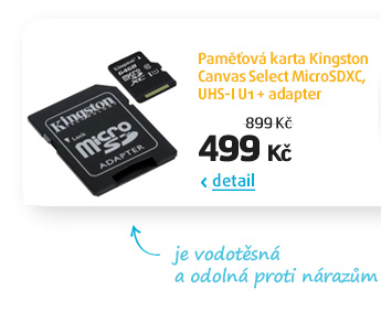 Paměťová karta Kingston Canvas Select MicroSDXC, UHS-I U1 + adapter