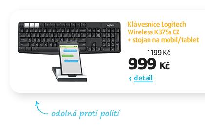 Klávesnice Logitech Wireless K375s CZ + stojan na mobil/tablet