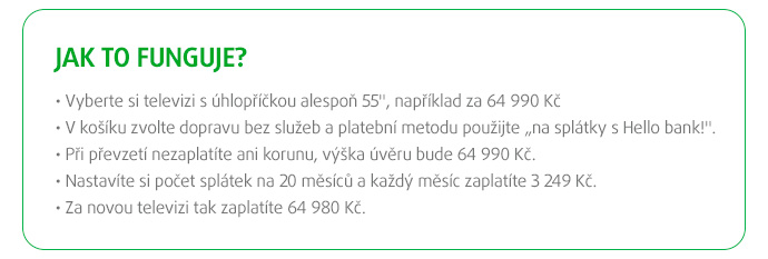 SPLÁTKY na TV od 55'' / 139 cm