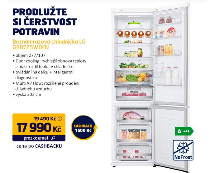 Beznámrazová chladnička LG GBB72SWDFN