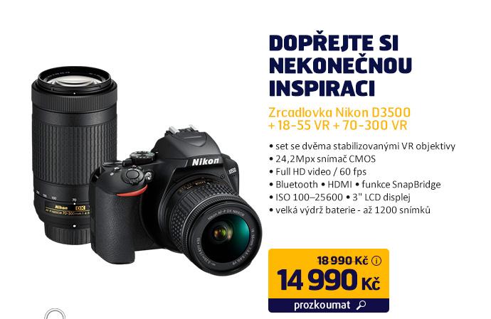Zrcadlovka Nikon D3500 + 18-55 VR + 70-300 VR