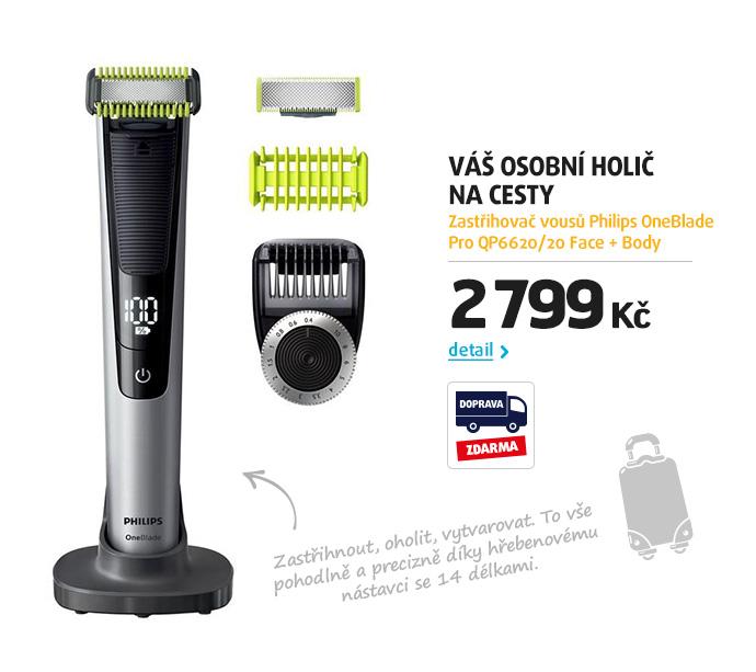 Zastřihovač vousů Philips OneBlade Pro QP6620/20 Face + Body