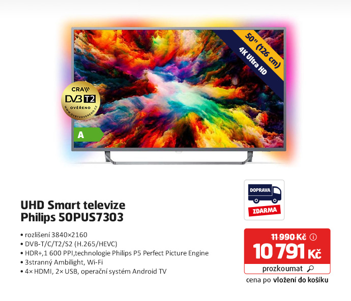 UHD Smart televize Philips 50PUS7303