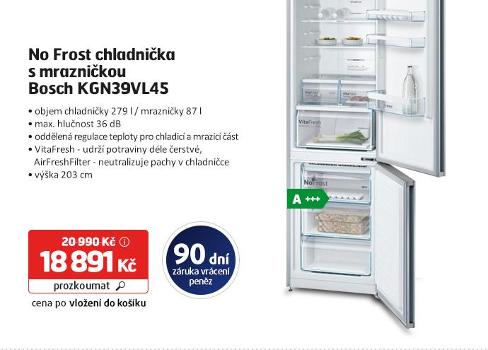 No Frost chladnička s mrazničkou Bosch KGN39VL45