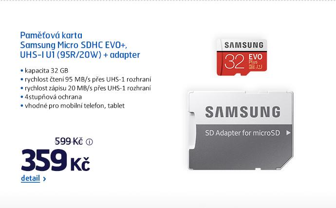 Paměťová karta Samsung Micro SDHC EVO+, UHS-I U1 (95R/20W) + adapter