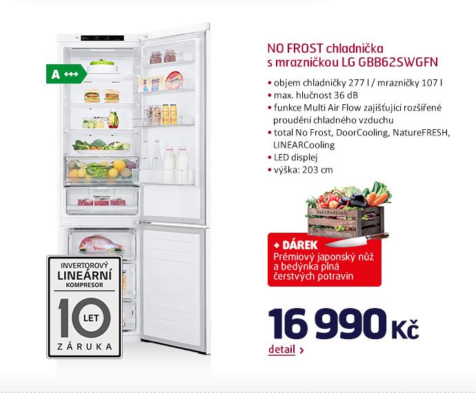 NO FROST chladnička s mrazničkou LG GBB62SWGFN