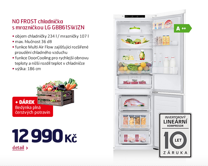 NO FROST chladnička s mrazničkou LG GBB61SWJZN